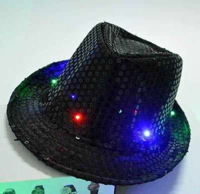 Светодиодные шляпы партии красочные Ковбой Джаз блестками шляпы Cap мигает детей взрослых унисекс фестиваль Coseplay костюм шляпы подарки 6 цветов WX-C19