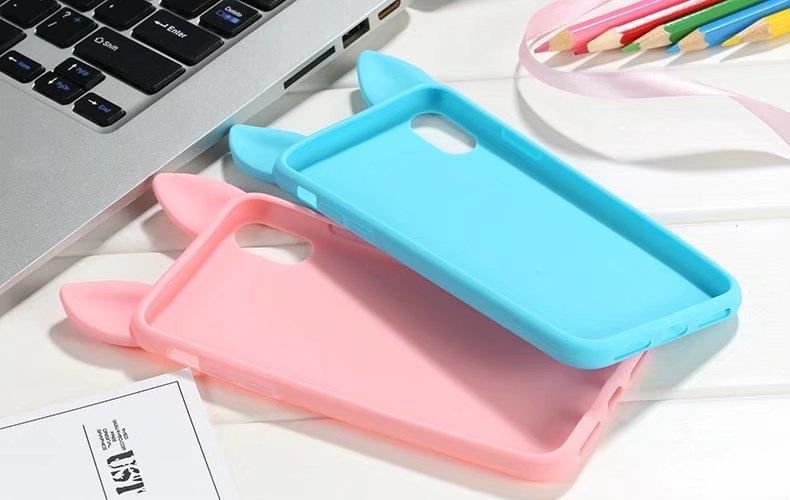 South Korea cute for ipone8 cat ear silicone mobile phone case for phone X silicone cat ear silicone full bag anti-drop