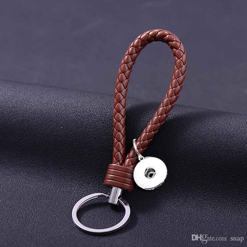Hot Sale Top Popular 025 Fashion Weave PU Leather Key Chains 18mm Snap Button Keychain Jewelry For Men Women Key rings