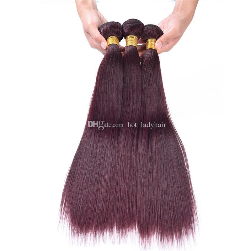 360 Dantel Bant frontals Düz Virgin Brezilyalı İnsan saç örgüleri Burgonya Öncesi Mızraplı 360 Dantel Frontal Kapatma ile Paketler # 99j