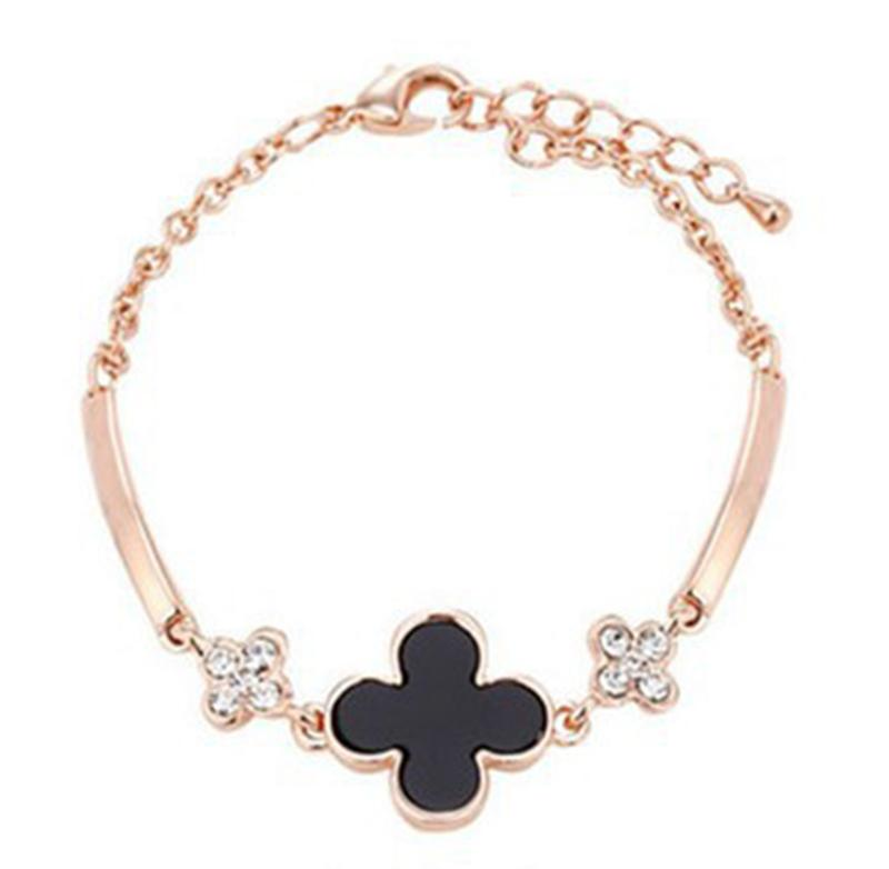 Good Luck Crystal Clover Bracelets Gold Plated Bangle Cuff Wristband for Women Fashion Jewelry Gift 162298