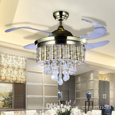 2018 Led Fans Light AC 110V 220V Invisible Blades Ceiling Fans Modern Fan Lamp Living Room 42 inch Chandeliers Ceiling Light Pendant Lamp