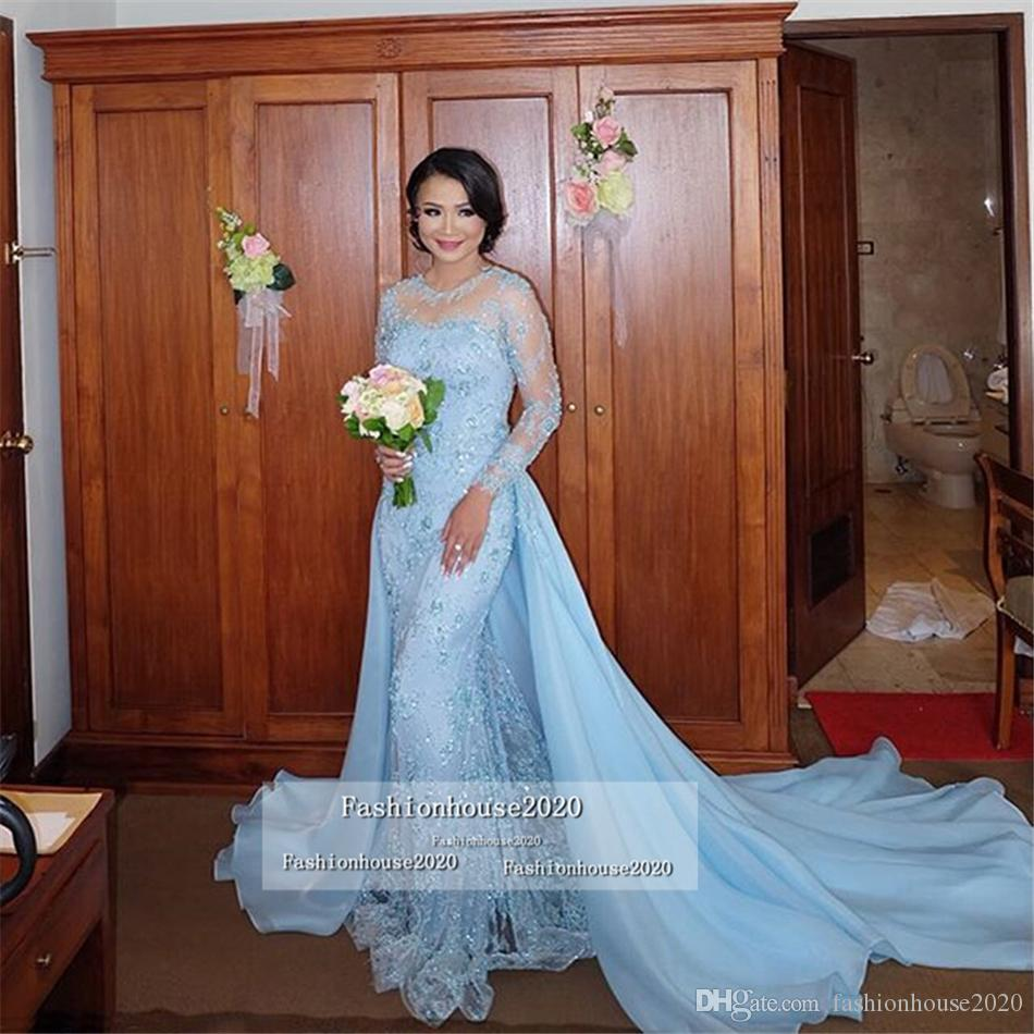 2020 Arabic Light Blue Mermaid Evening Dresses Appliques Lace Appliques Long Sleeves Formal Evening Gowns With Detachable Skirt Prom Dress