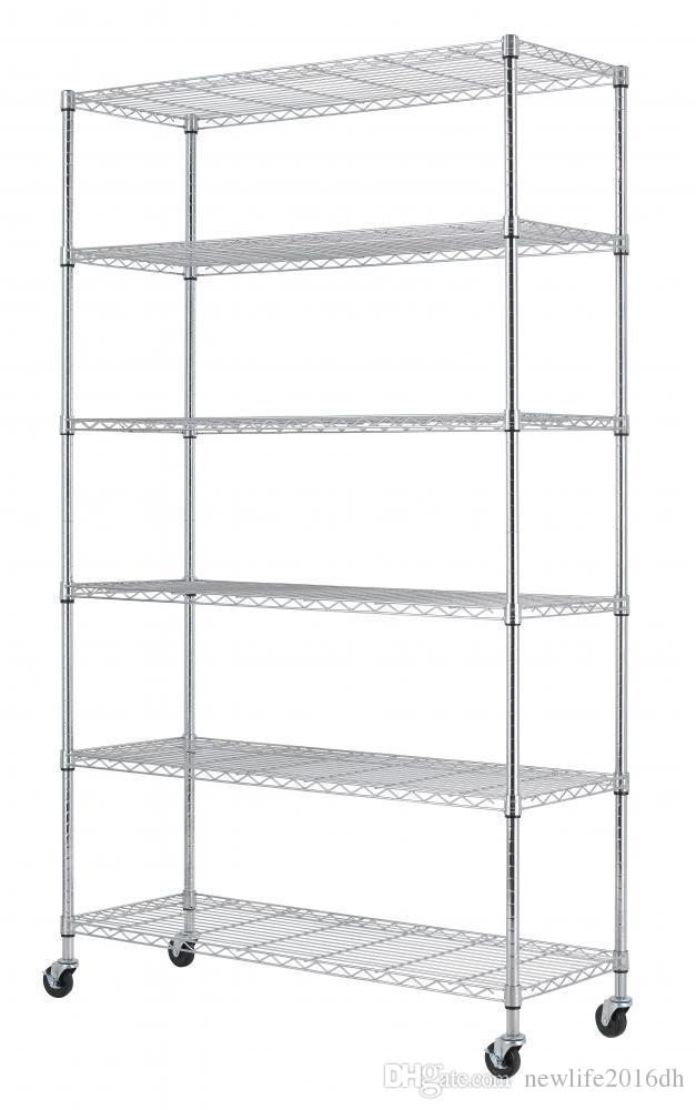 Adjustable Wire Shelving | 2019 Chrome 82x48x18 6 Tier Layer Shelf Adjustable Wire Metal