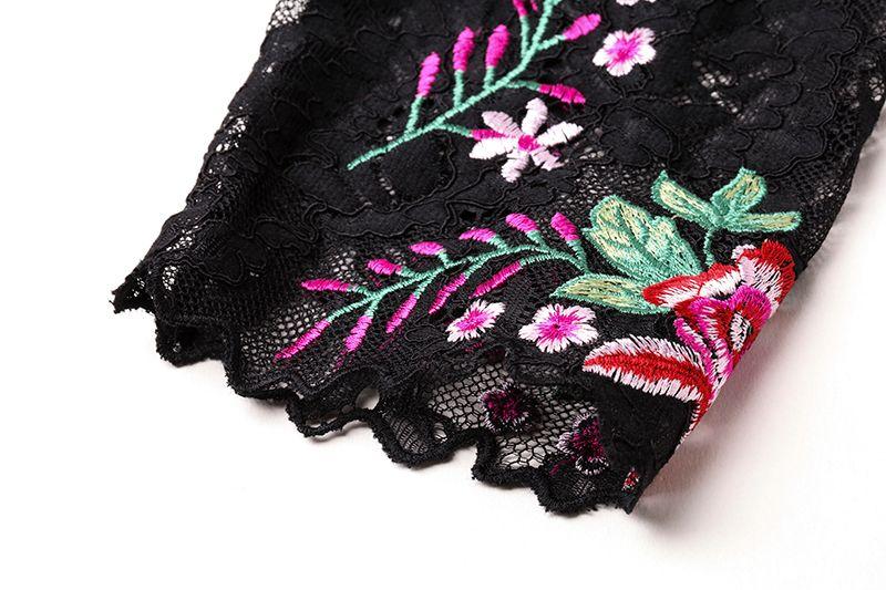 Moda Nakış Kadınlar Kılıf Elbise Seksi Şeffaf Kol Elbiseler 0917175