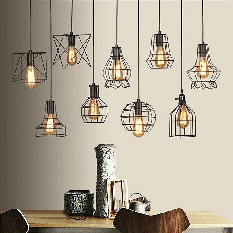 acheter retro lamp shades industrie pendentif en métal lampes