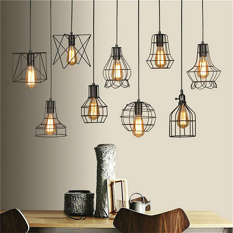 Retro Lamp Shades Industry Metal Pendant Lamps Holder Vintage Style Iron Hanging Light Shade Edison Bulb Covers Rectangular Pendant Light Double Pendant