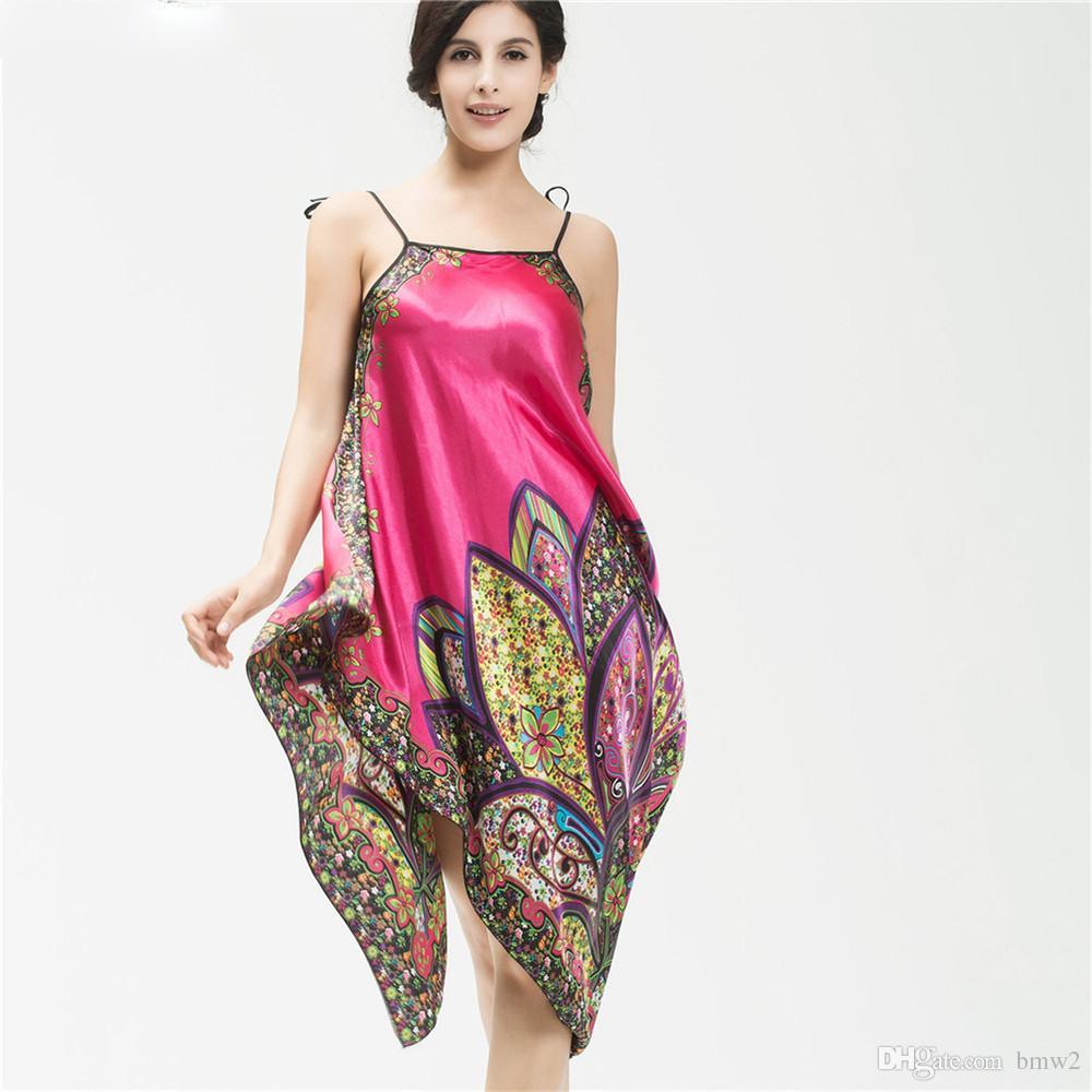 Vêtements de nuit pour femmes Sexy Soie Satin Robe Chemise de nuit Mujer Peignoir Vêtements de nuit Maison Vêtements de nuit Femme Feminino SlashNeck Dress