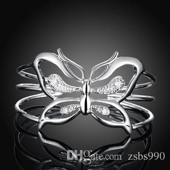 Hot Nieuwe Mode 925 Silver Jewelry Charm Rings Butterfly Armbanden Set met Zirkoon Gratis Verzending