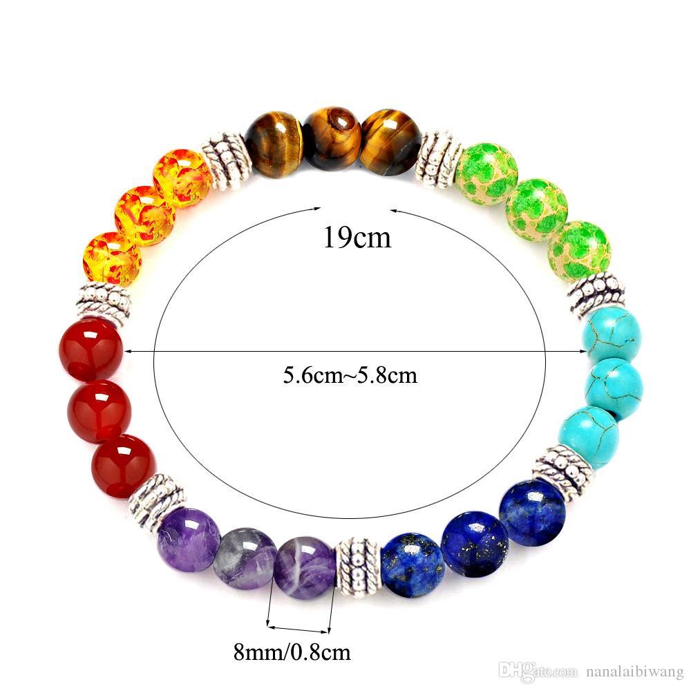 Venta caliente de moda piedra natural amatista 7 chakra ágata tigre cuentas de piedra pulsera de siete colores 8mm bola arco iris 7 pulsera chakra