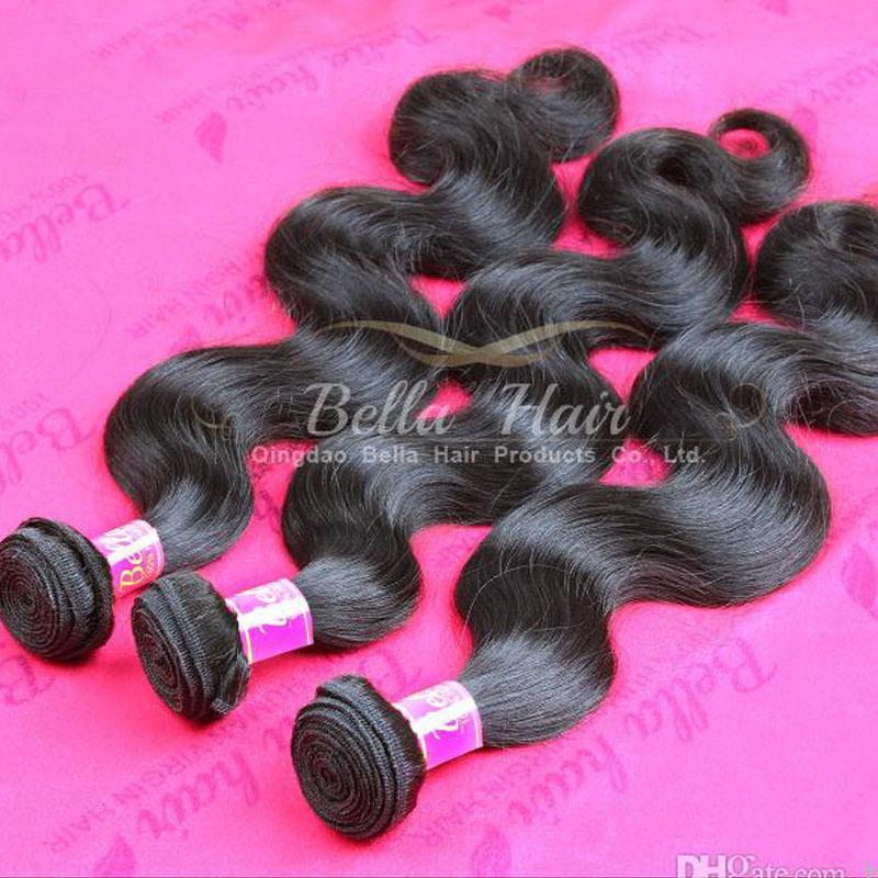Девственница индийская волна тела человеческих волос расширения 3 шт. / лот натуральный цвет волос 9a Bellahair навалом