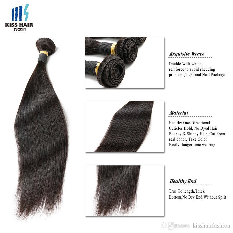 عالية الجودة 9A ريمي الشعر 3 حزم مع اختتام حريري مستقيم الخام الهندي العذراء البرازيلي الشعر غير المجهزة بيرو شعر إنساني إمتداد