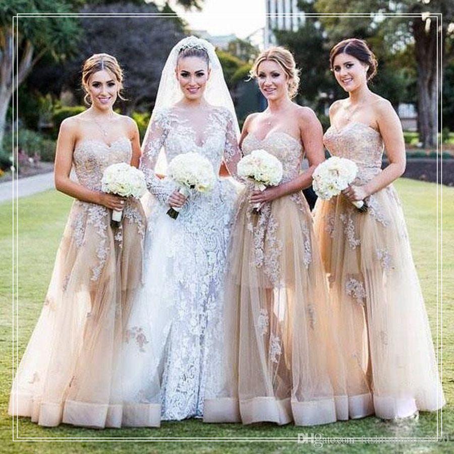 Champagne Lace Long Bridesmaids Dresses 2