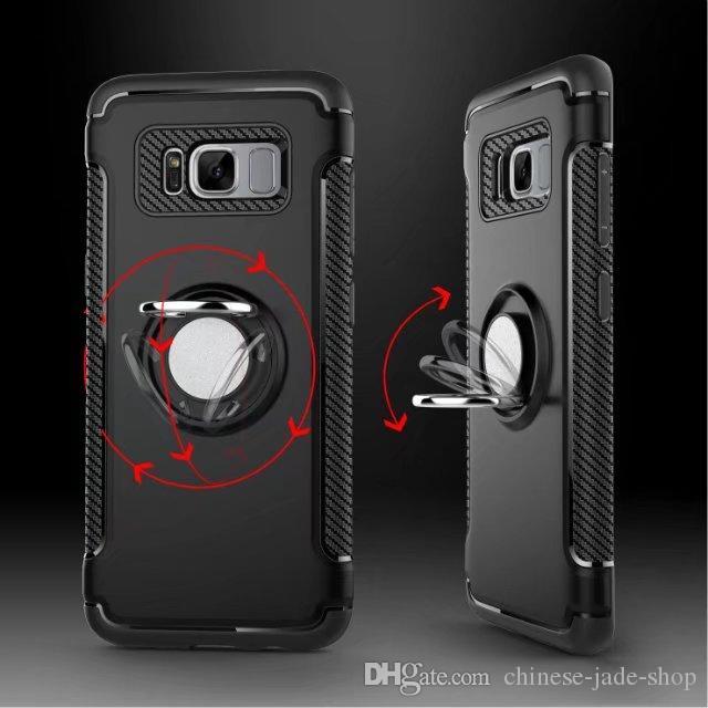 Armour TPU + PC + Metal Ring Bracket Case Cover Car Magnet Sugmantel för iPhone X 6S plus 7 7 8 Plus Galaxy S8 S8 Plus S7 S7 Edge