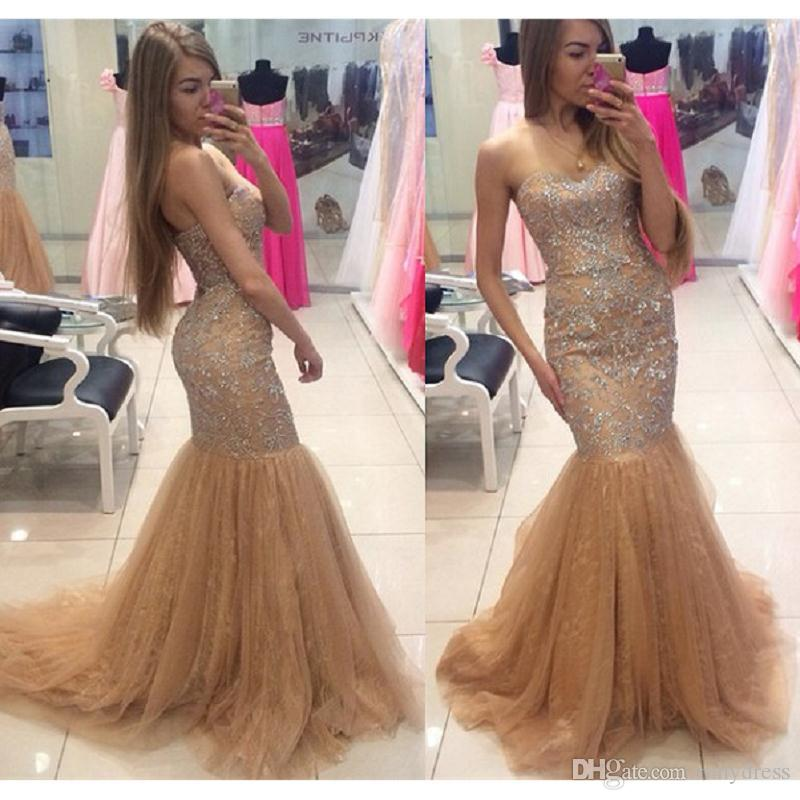 Champagne Prom Dressess Long 2017 Luxury Sweetheart