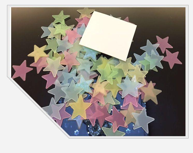 3D 별 빛나는 어둠의 형광등 플라스틱 벽 스티커 홈 장식 데칼 벽지 장식 특별 한 축제