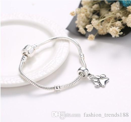 Fits Pandora Bracelets Dog Paw Print Silver Charms Beads Dangle Pendants For Wholesale Diy European Sterling Necklace Jewelry Women