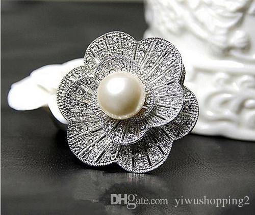 Vintage Look White Gold Clear Rhinestone Crystal Diamante Cream Pearl Center Flower and Bow Wedding Bouquet Brooch Pins