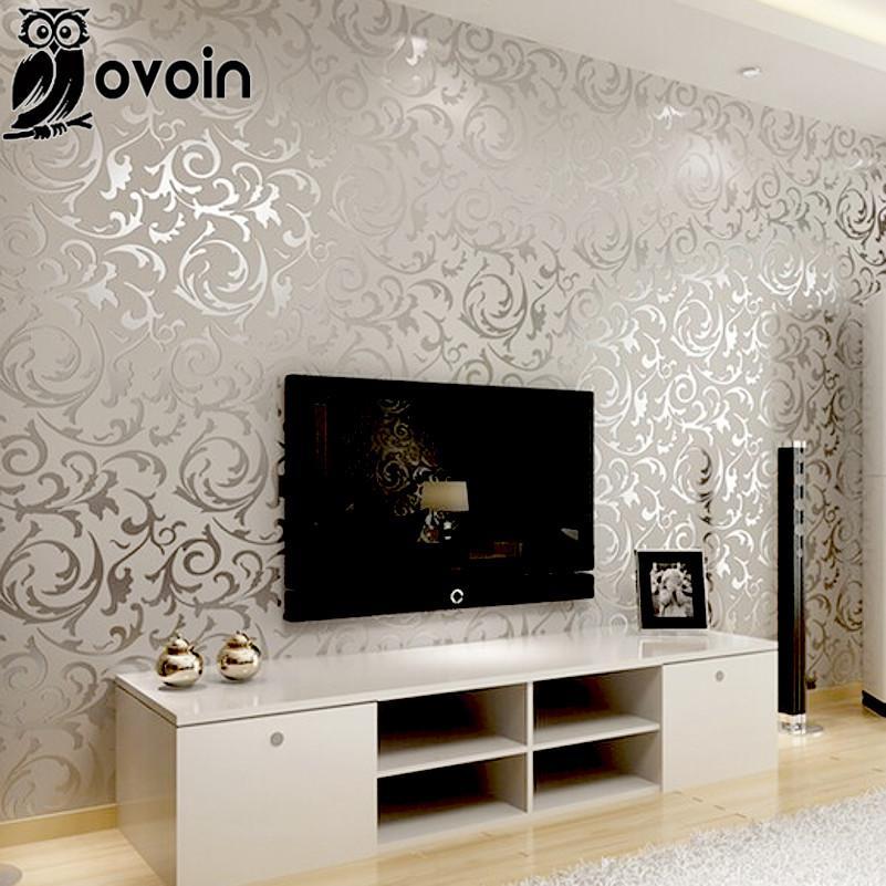 Home Furniture Diy 3d Victorian Damask Embossed Wallpaper Rolls