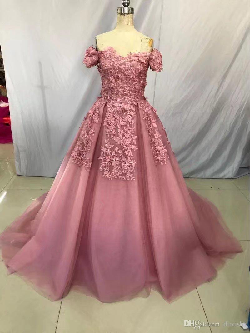 Hote Sale Ball Gown Bateau Short Sleeve Chapel Train Dress Soluble ...