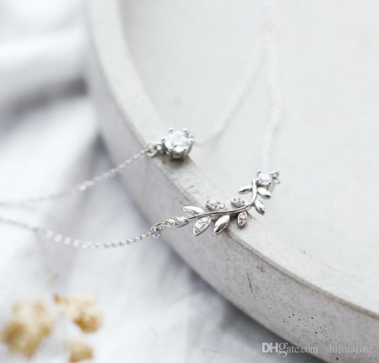 collier double coréen s925 argent zircon olivier noir étudiants coréens simple personnalité chaîne chaîne de clavicule anniversaire