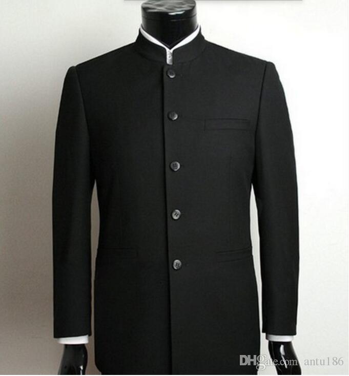 Özel yapılmış Erkekler Suit yüksek kalite Çin Tunik Takım Elbise Standı Yaka Klasik Suit Blazer yeni Tasarım İş Resmi Takım Elbise ceket + pantolon
