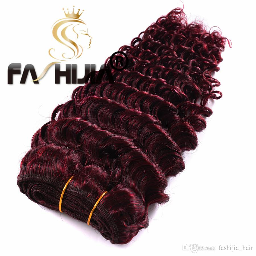 Burgundy Deep Wave Brazilian Virgin Hair Red Raw Deep Curly Ocean Wave 99J Human Hair Weave Wet And Wavy 3 Bundles With Closure