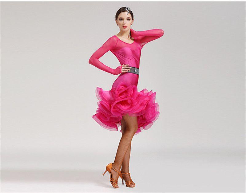 شحن مجاني 5 اللون الأحمر الأسود الكبار الرقص اللاتينية اللباس السالسا التانغو تشا تشا قاعة المنافسة ممارسة طويلة الأكمام هيكل السمكة الرقص اللباس