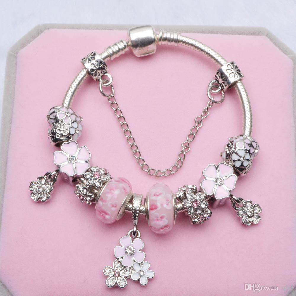 pandora bracelet pink charms