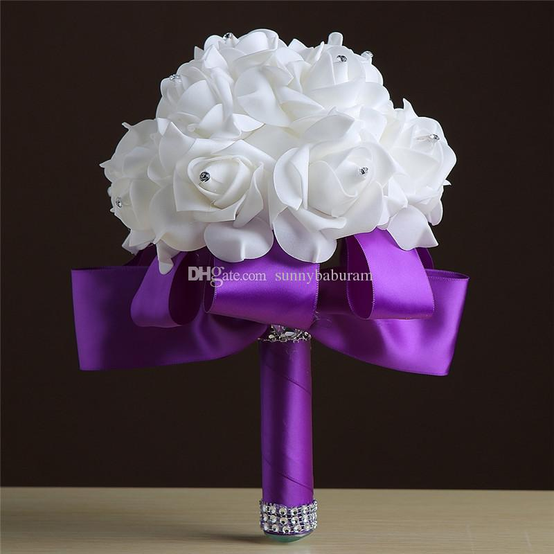 Wholesale Cream White Bouquets Handmade Flowers Rhinestones Rose Bridesmaid Bridal Artificial Holding Brooch Bouquet Silk RibbonWholesale W