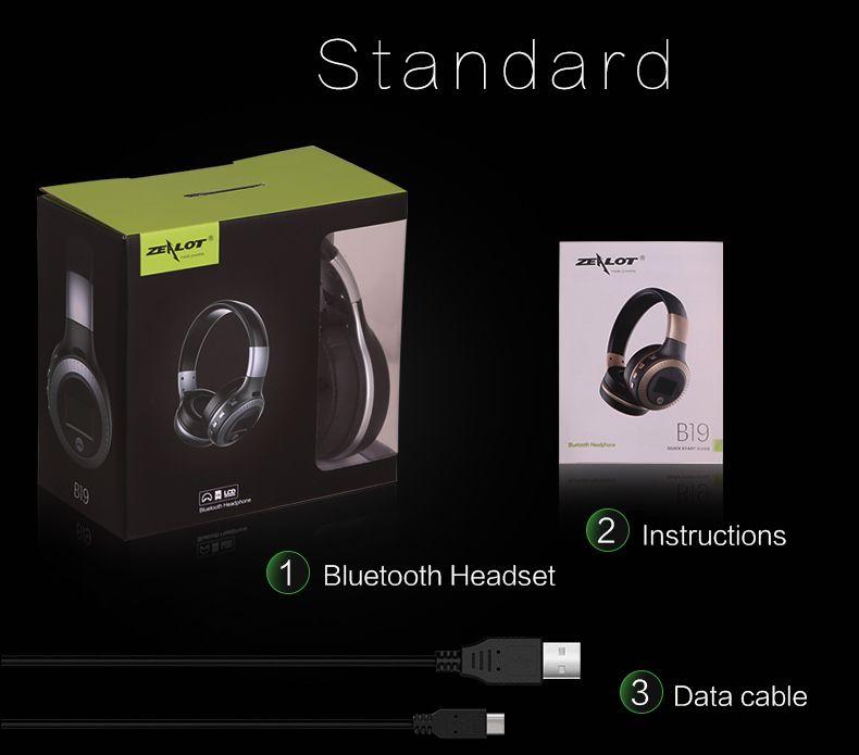 ZEALOT B19 Bluetooth 헤드폰 마이크 헤드셋이 장착 된 무선 스테레오 이어폰 헤드폰 Micro-SD 카드 슬롯 FM PC 전화 용 라디오