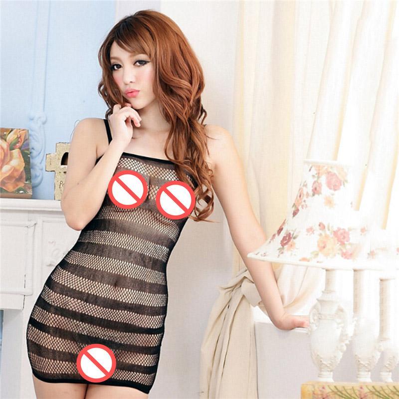 Hembra erótica Porno Disfraces Sexy Lencería Netos camisones camisón camisón Vestido de entrepierna Body Stocking mujeres intimates 2407002