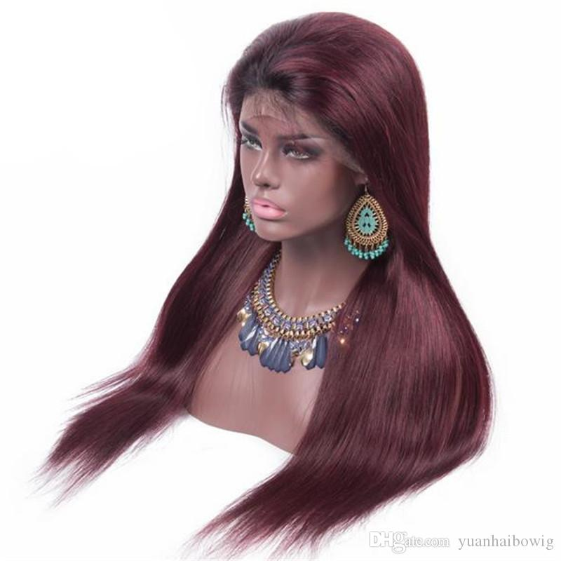 Top Grade Burgundy Full Lace Wig Virgin Peruvian Human Hair Straight Glueless Lace Front Wig