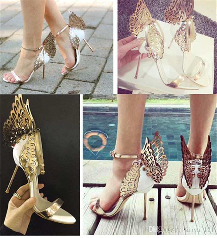 ce261669a15 Prom Party Womens Shoes Open Toes Shoes Summer Sandals Graduation High Heels  Shoe Buckle Strap Heel 10 Cm Butterfly Wings Silver Gold Dansko Sandals  Tall ...