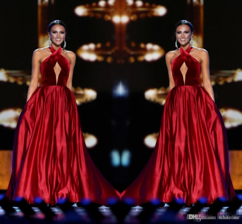 Wine Red Miss USA Pageant 2017 Evening Gowns Keyhole Neck Sleeveless with Pockets A-Line Women Formal Occasion Wear Long Prom Party Dresses