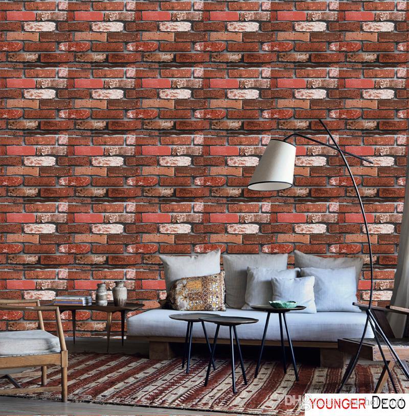 Red Modernes Design Ziegelstein Tapete Stein Vintage Vinyl Tapetenrollen Wohnkultur Wohnzimmer 3d Wasserdichte Vinyltapete