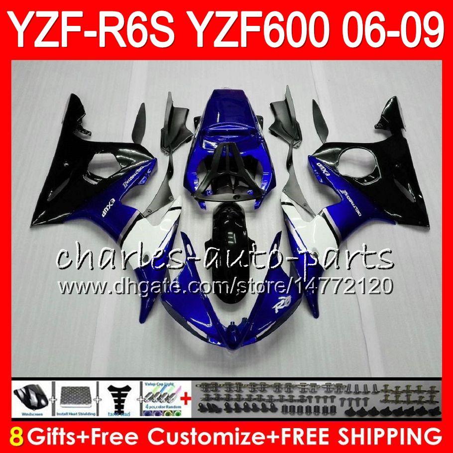 8Gifts Body For YAMAHA YZF600 YZFR6S 06 07 08 09 57HM2 YZF R6 S blue black YZF 600 YZF-R6S YZF R6S 2006 2007 2008 2009 Fairing kit