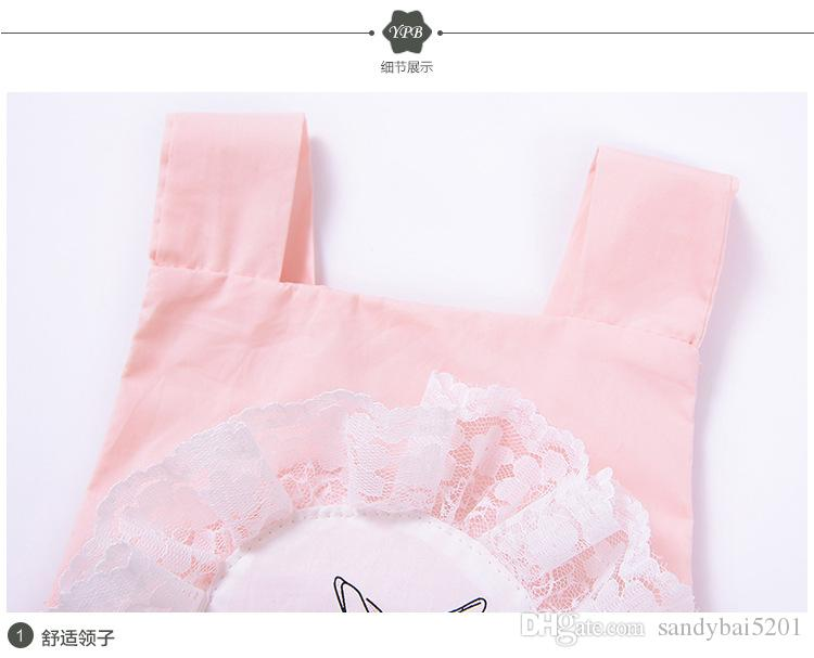 Baby Girls Lace Rompers Kids Girl Pink Rabbit Backless Jumpsuit 2017 Newborn Cartoon One-piece Infant Outfits Children Boutique Clothing B81