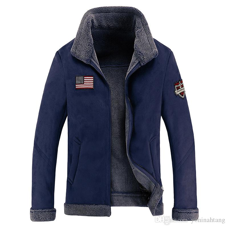 Wholesale Men's Air Force Bomber Basic Coats & Jackets Winter Man Thick Leather Jacket for Men Clothing Me