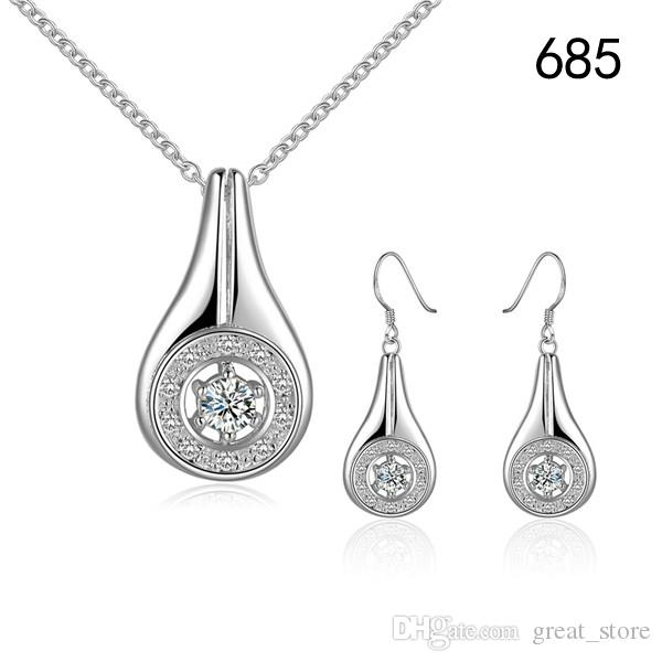 women's gemstone sterling silver plated jewelry sets mix style same price,wedding 925 silver Necklace Earring set S32b