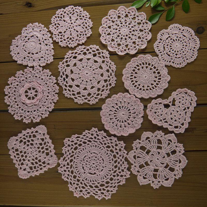 24Piese - 12 design-- design - Kitchen Hand Crochet Doilies Round Coasters cotton mats applique Cotton Home wedding decoration