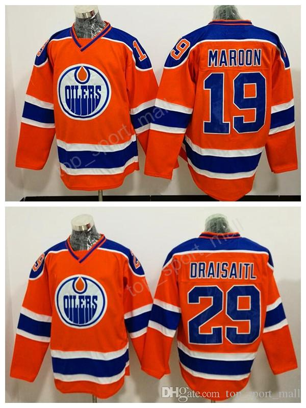 hot sales bcc33 e0381 Edmonton Oilers 19 Patrick Maroon Jersey Men Orange Alternate 29 Leon  Draisaitl Ice Hockey Jerseys All Stitched Breathable Free Shipping