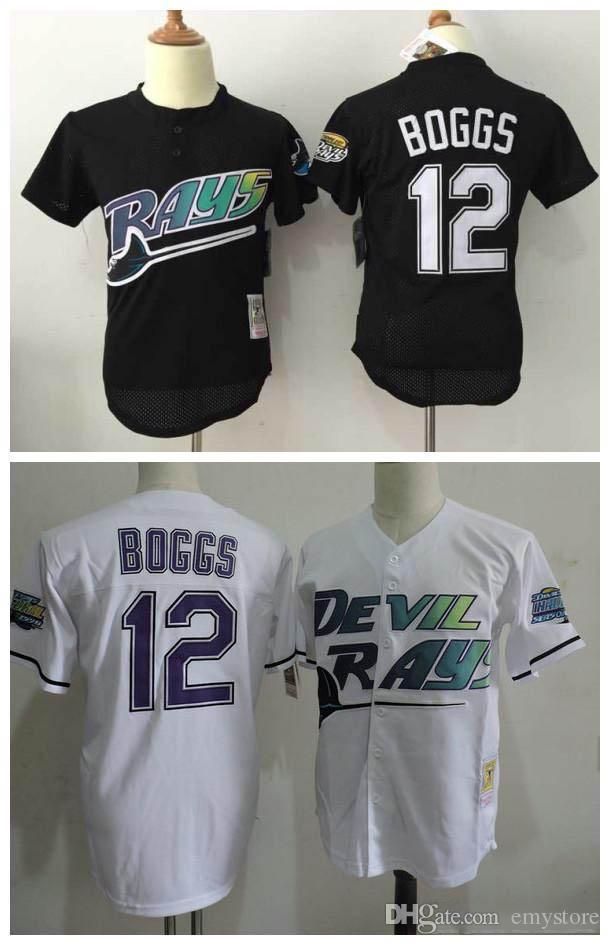 Men's Tampa Bay Rays #12 Wade Boggs Mesh BP Black Throwback Jersey