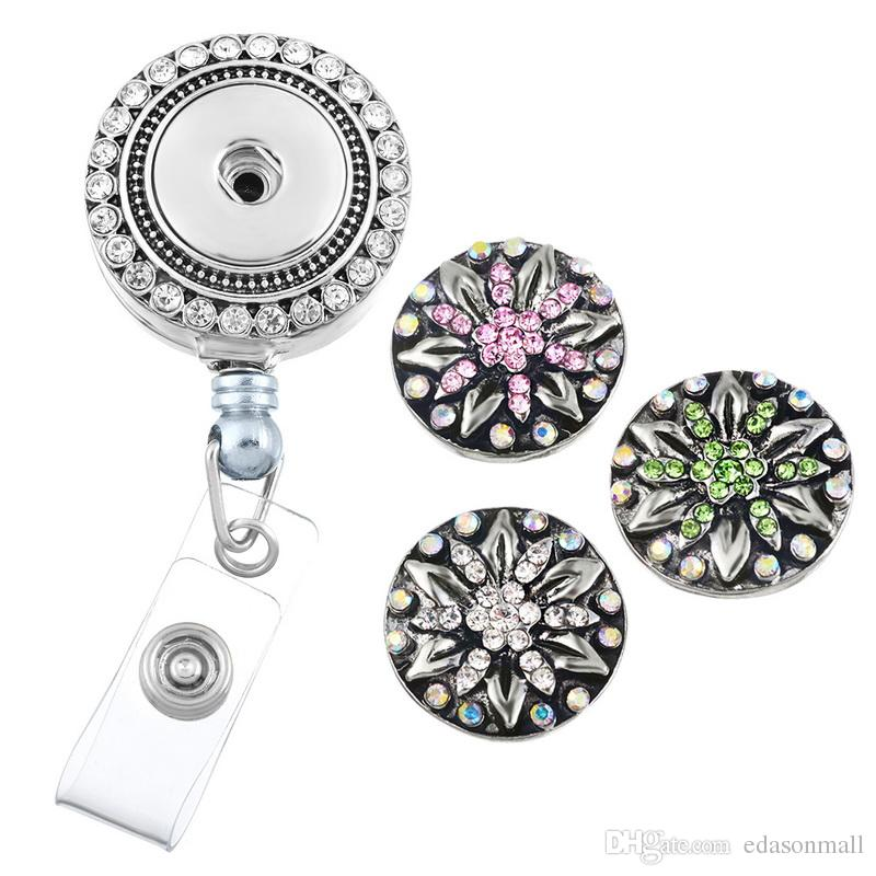 2018 mix styles jewelry chunk snap button retractable badge reel 2018 mix styles jewelry chunk snap button retractable badge reel clip name tag holder with round flower diy snaps buttons charms n160s from edasonmall solutioingenieria Gallery