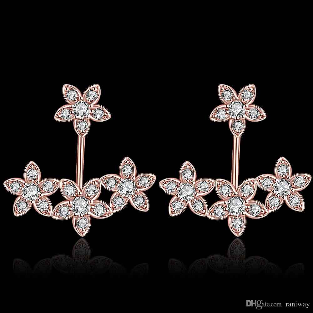 New Trendy Rose Gold Plated / Silver Plated Flower Front Back Round CZ Stud Earrings Jacket Cuff Crawlers Earrings Set Statement