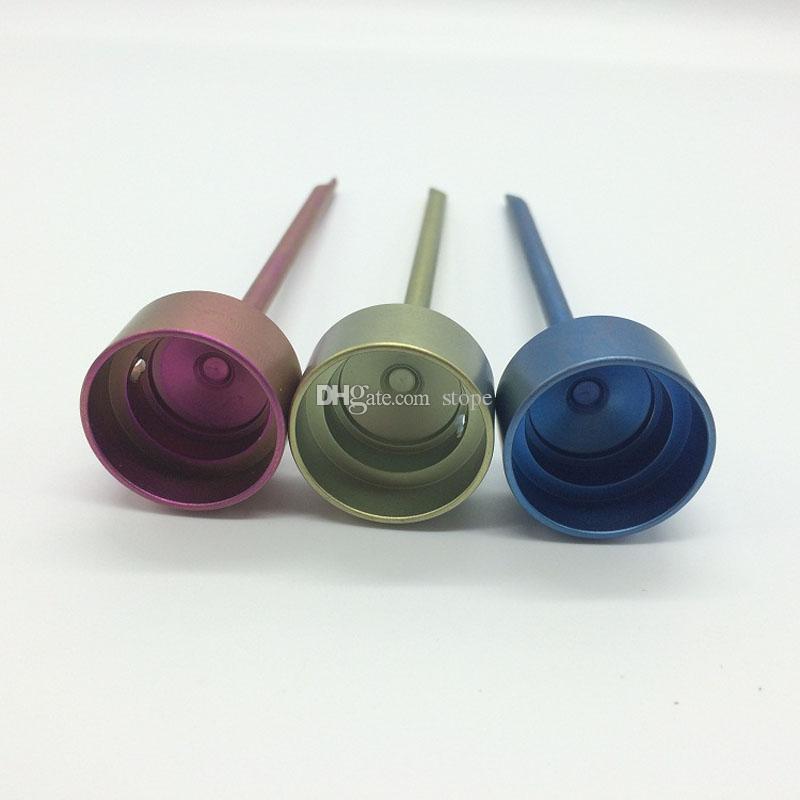2017 Più nuovo Domeless Coloratura Titanio Carb Cap con titanio dabble sulla parte superiore, con un foro angolato tubo di acqua di vetro