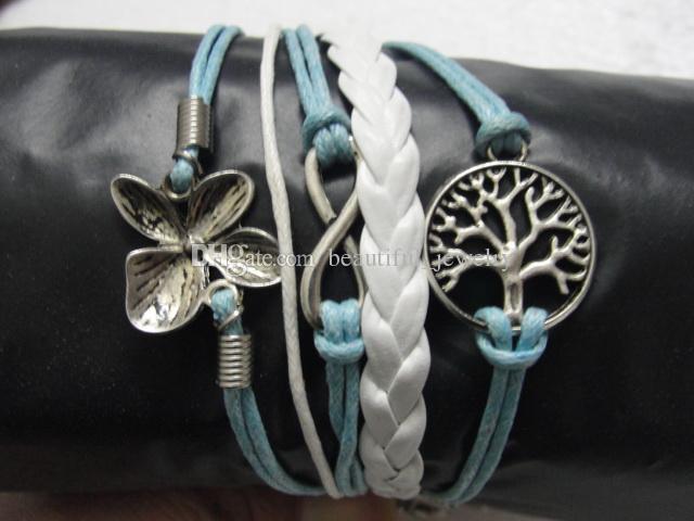 Stili casuali mix Ordine misto Braccialetto in pelle Infinity Cross Anchor Love Heart Gufo Credi Braccialetto con perle Charm