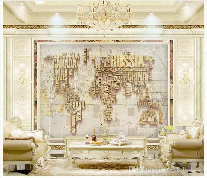 3d foto papel de parede personalizado murais de parede papel de parede inglês letras mapa do mundo 3 d fundo da parede tv configuração 3d sala de estar decoração da parede