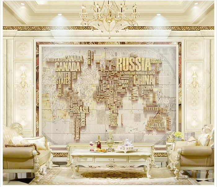 3D fotoğraf kağıdı özel duvar kağıdı duvar kağıdı İngilizce harfler dünya haritası 3 d arka plan duvar tv ayarı 3d oturma odası duvar dekor