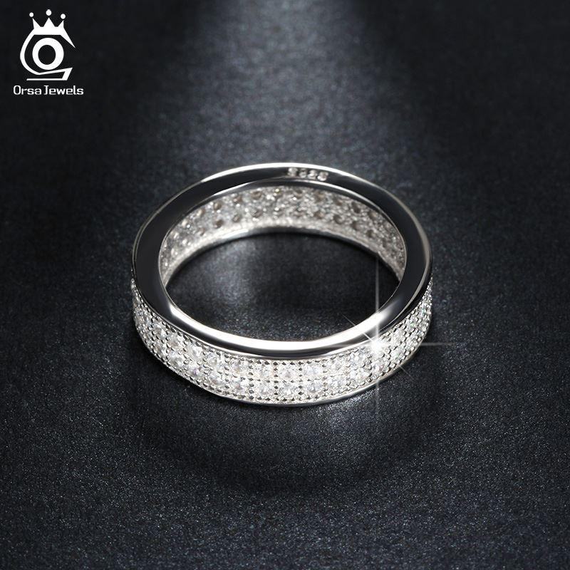 2017 Orsa Jewels Platinum Plated Wedding Band Engagement Ring